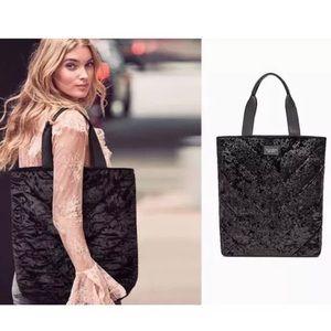 Victoria's Secret New Black Velvet Tote